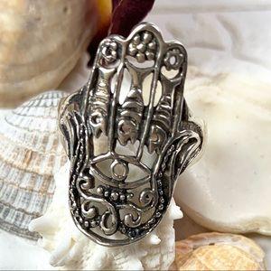 Vintage Sterling Silver Hamsa Ring SZ 9